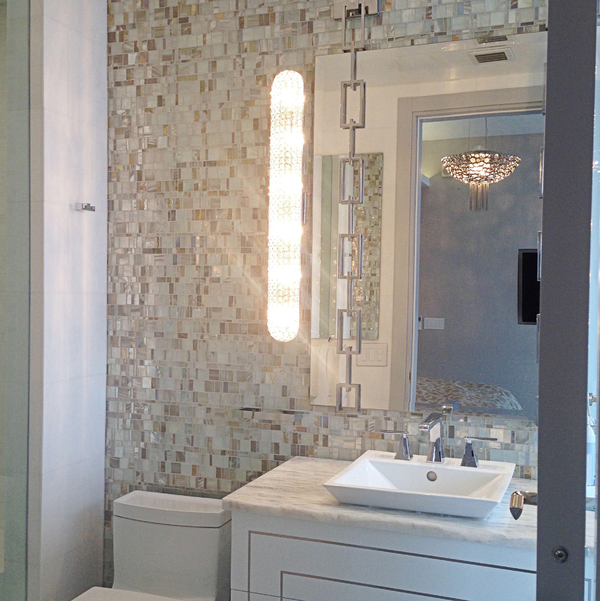 This Bathroom Has A Mosaic Tile On The Wall Called Liberty Opal