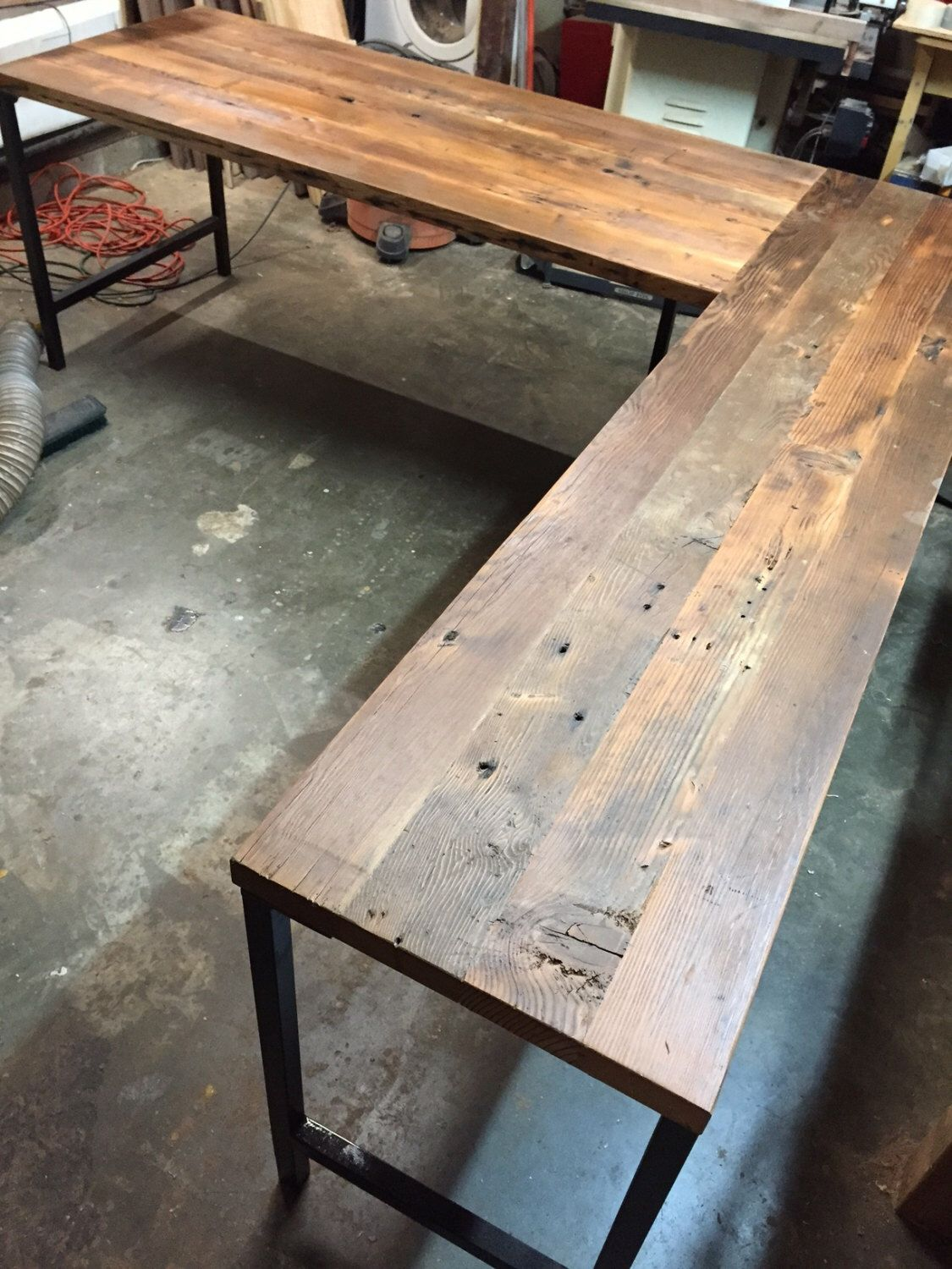 L shaped desk reclaimed wood desk industrial modern for Metal desk with wood top