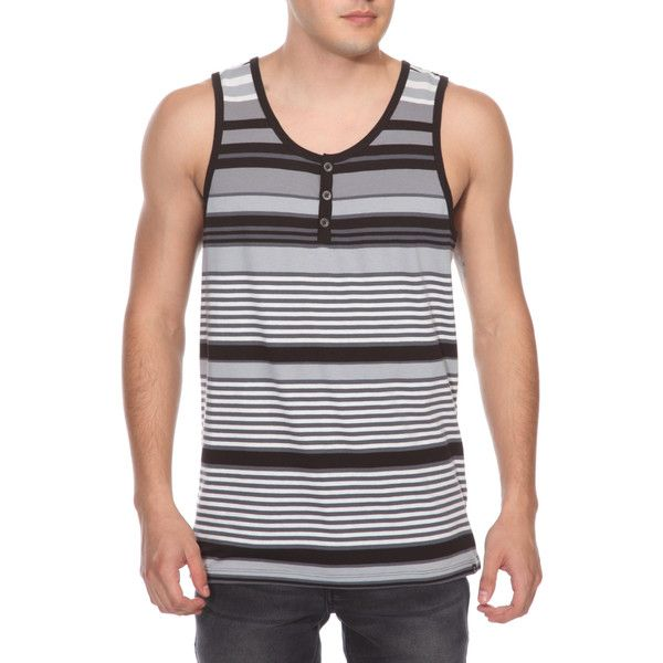 RUDE Striped Henley Tank Top | Hot Topic
