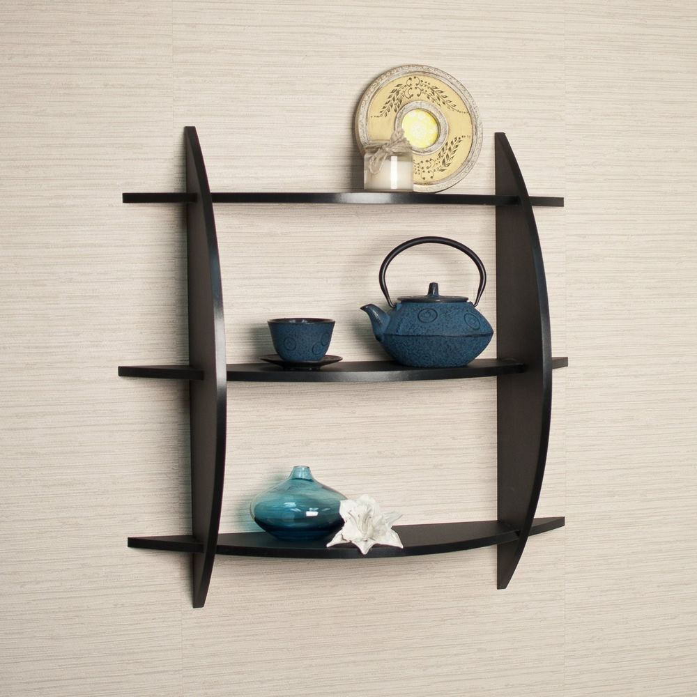 Wood Shelves  Home Living Room Decoration 3 Tier Half Moon Shelf Unit Black New