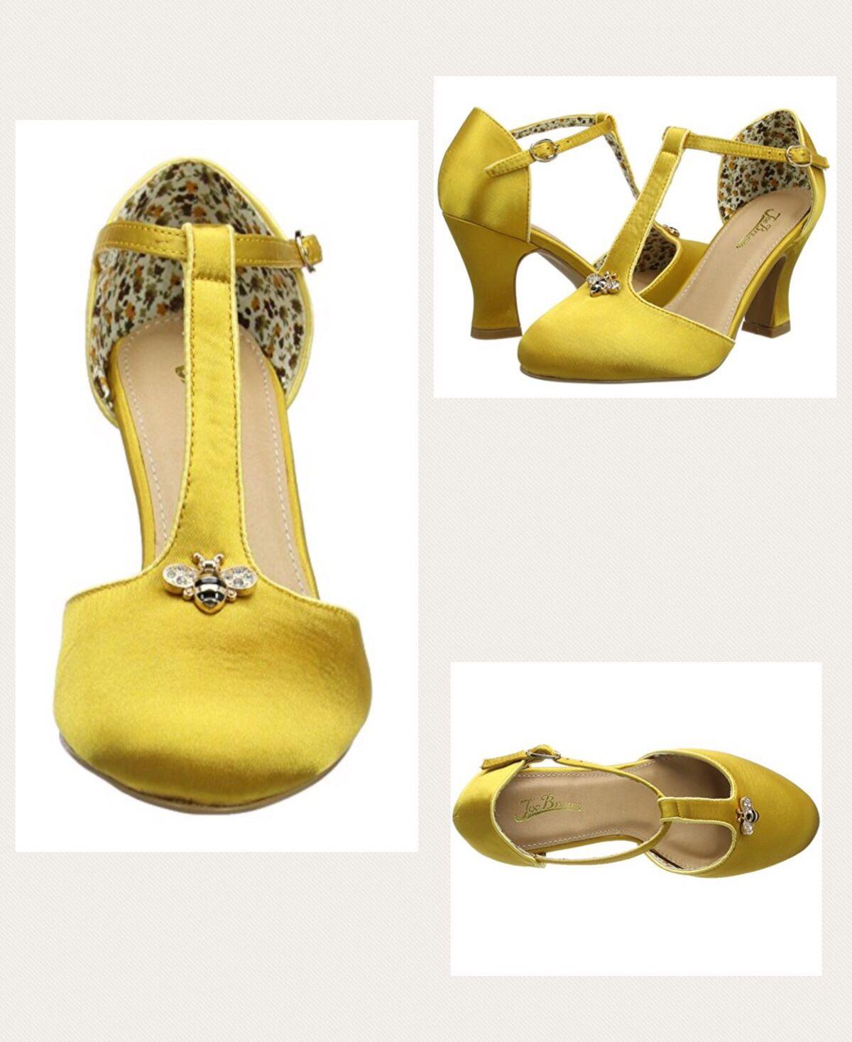 Joe Browns Women S Sweet As Honey Vintage Shoes T Bar Heels Yellow Gold Bumblebee Love Bees Honeybee Bee 1940 Vintage Shoes T Bar Shoes Heart Shoes