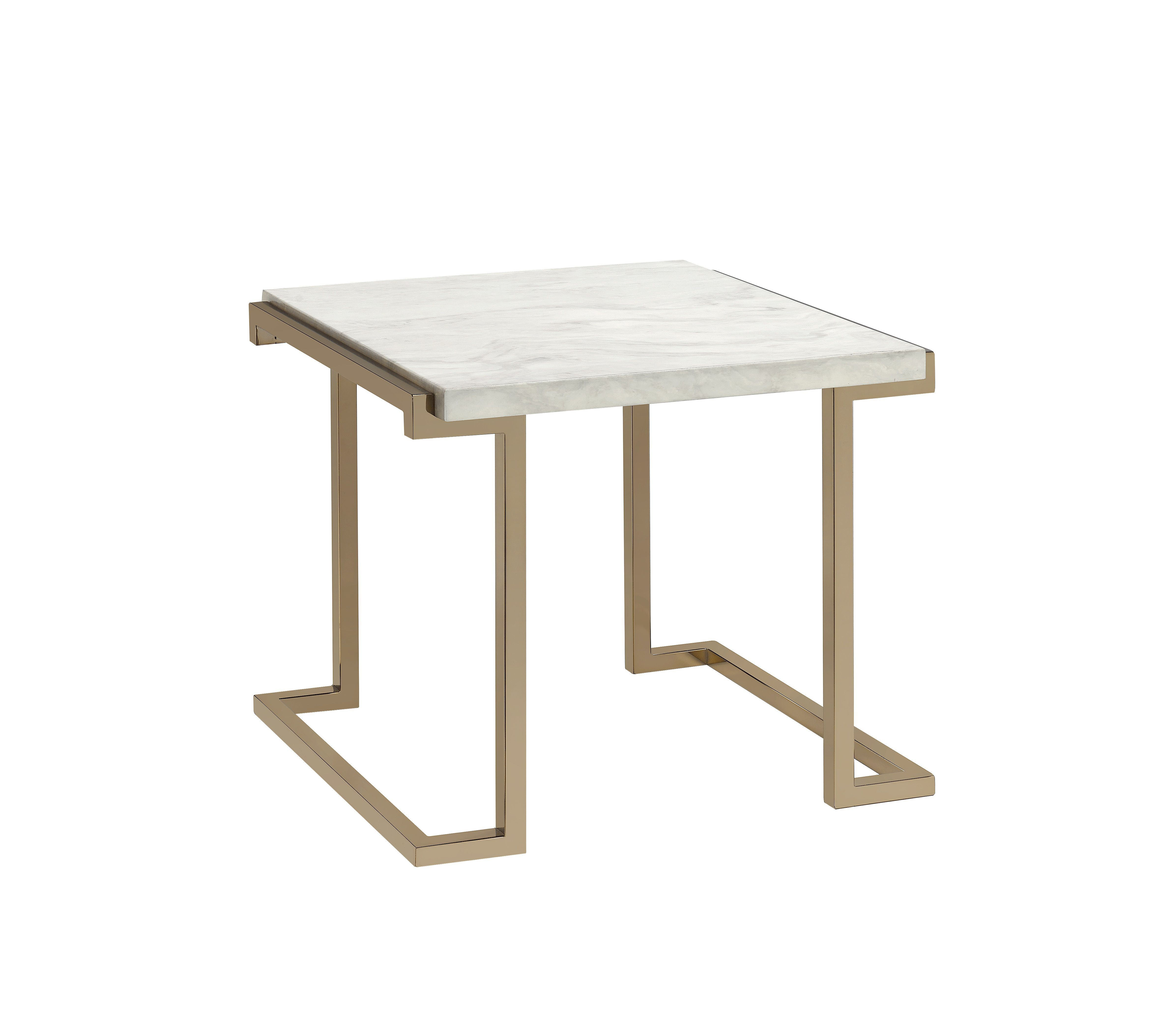 Boice Ii End Table Faux Marble Champagne Gold Marble Top End Tables Acme Furniture Furniture