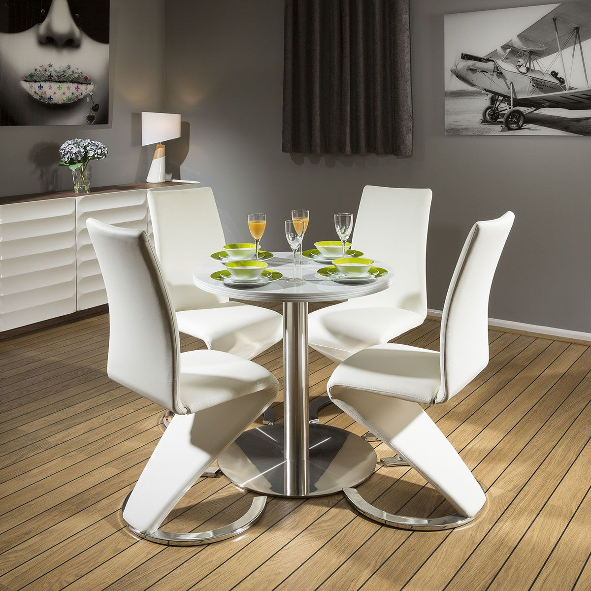 Round Dining Set Grey 80cm Dia Corian Table 4 X White Z Shape