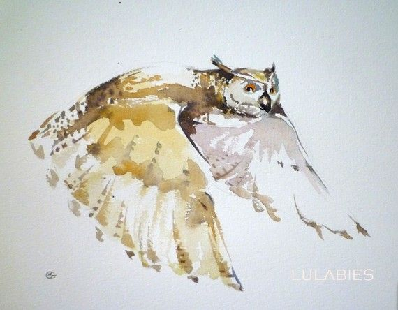 I love it when simplicty looks both subtle and carefully drawn. This watercolor owl was found at Lulabies on Etsy.