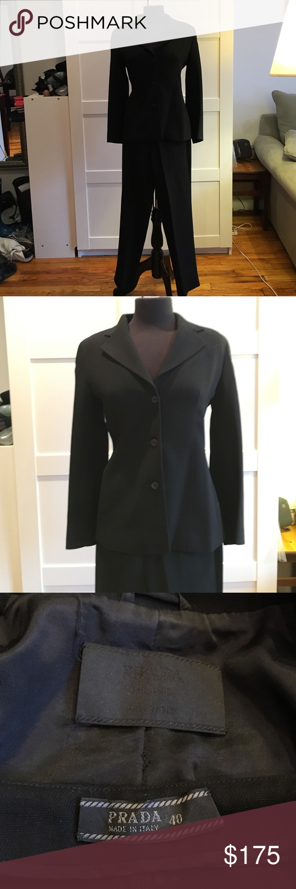 """Prada pantsuit Prada power suit. Perfect for that big interview, important presentation or power lunch. Jacket is a size 42 (probably equivalent to a 4 or 6) -shoulders 17"""", sleeve 23"""" , pants size 40 (probably equivalent to a 2 or 4) - waist 27"""", inseam 30"""". Prada Other"""