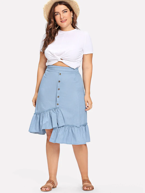 36cc120b9 Denim for days. Our Franklyn Skirt features: High waist (partially  elasticated) Button front Asymmetrical hem Ruffle trim Plus size fit  Pre-order only ...