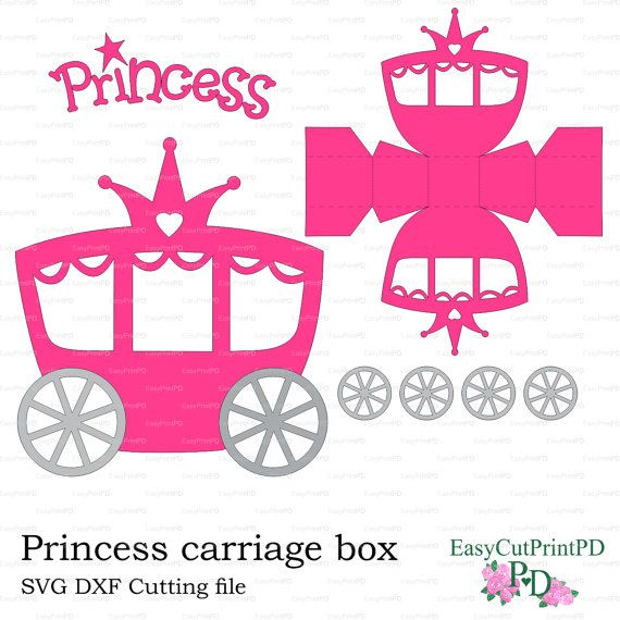Fiesta Princesa Carro Caja Plantilla Studio V3 Por EasyCutPrintPD