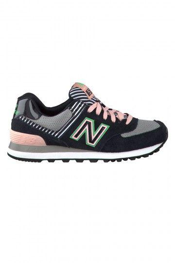 New Balance Wl574 Femme Noir Et Rose