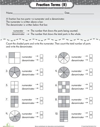 Numerator Math Fractions Worksheets Fractions Numerator and denominator worksheet