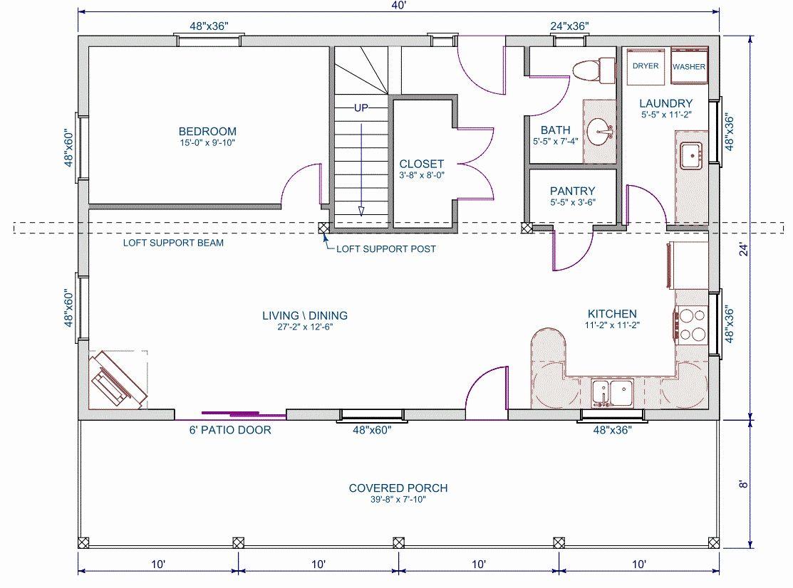 lovely 24 x 30 2 bedroom house plans house plan Loft