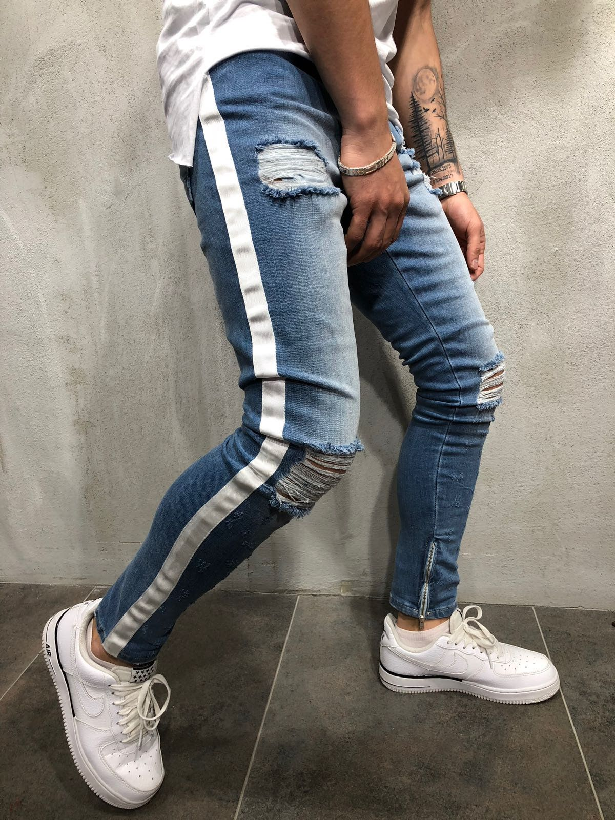 58e6a1b44cc White Side Stripes Distressed Jeans . This ripped knee jeans is as cool as  your attitude, so why don't you try it? . . . . #distressedjeans #MensWear  # ...
