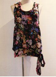 Vintage Scoop Neck Sleeveless Floral Print Lace-Up Women's Blouse