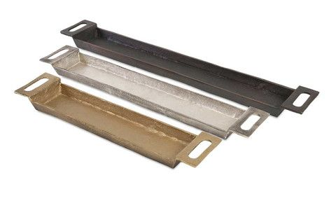 IMAX Danny Slim Trays - Set of 3. You can never be too thin or too richly finished. Witness this trio of slender metal trays in rustic gold, silver and black.
