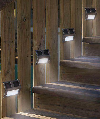 Hosl Solar Powered Stainless Steel Staircase Solar Step Lights