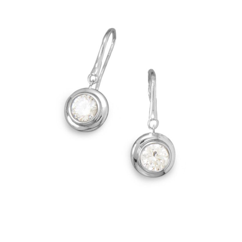 Rhodium Plated Bezel Set CZ French Wire Earrings