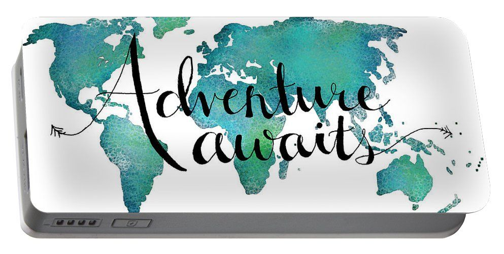 Adventure awaits travel quote on world map portable battery adventure awaits travel quote on world map portable battery charger for sale by michelle eshleman gumiabroncs Choice Image