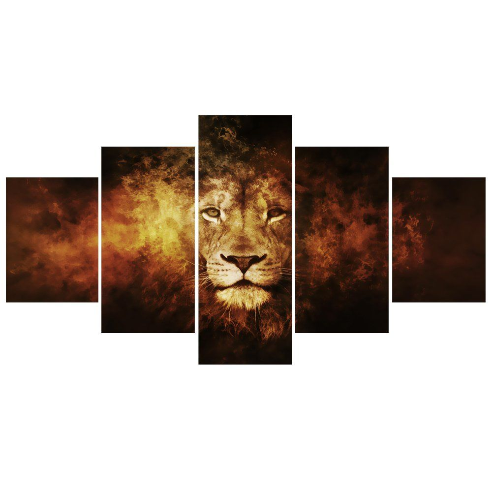 Amazon Com Geves 5 Panels Retro Lion Wall Art Canvas Paintings Picture Modern Living Room Decorative Print P Lion Wall Art Canvases Canvas Decor Lion Wall Art