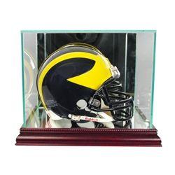 Autographs-original New Denver Broncos Football Helmet Display Case Black Sport Molding Uv Nfl