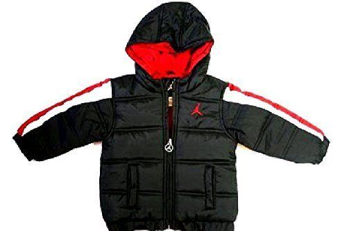 113691e55b26a7 Nike Air Jordan Baby and Little Boys Puffer Bubble Jacket Black Red  Nike   Jacket  Everyday