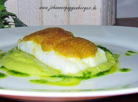 stuttgartcooking: Kabeljau mit Curry-Senf-Kruste auf Erbsenpüree und Basilikum-Olivenöl