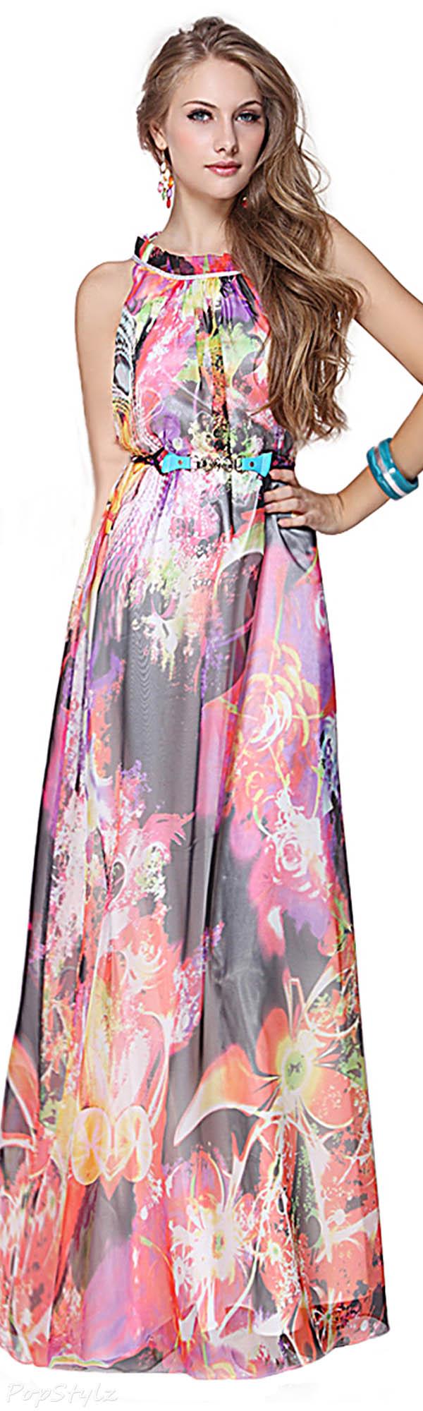 Ever pretty floral print long maxi dress clothes for gals