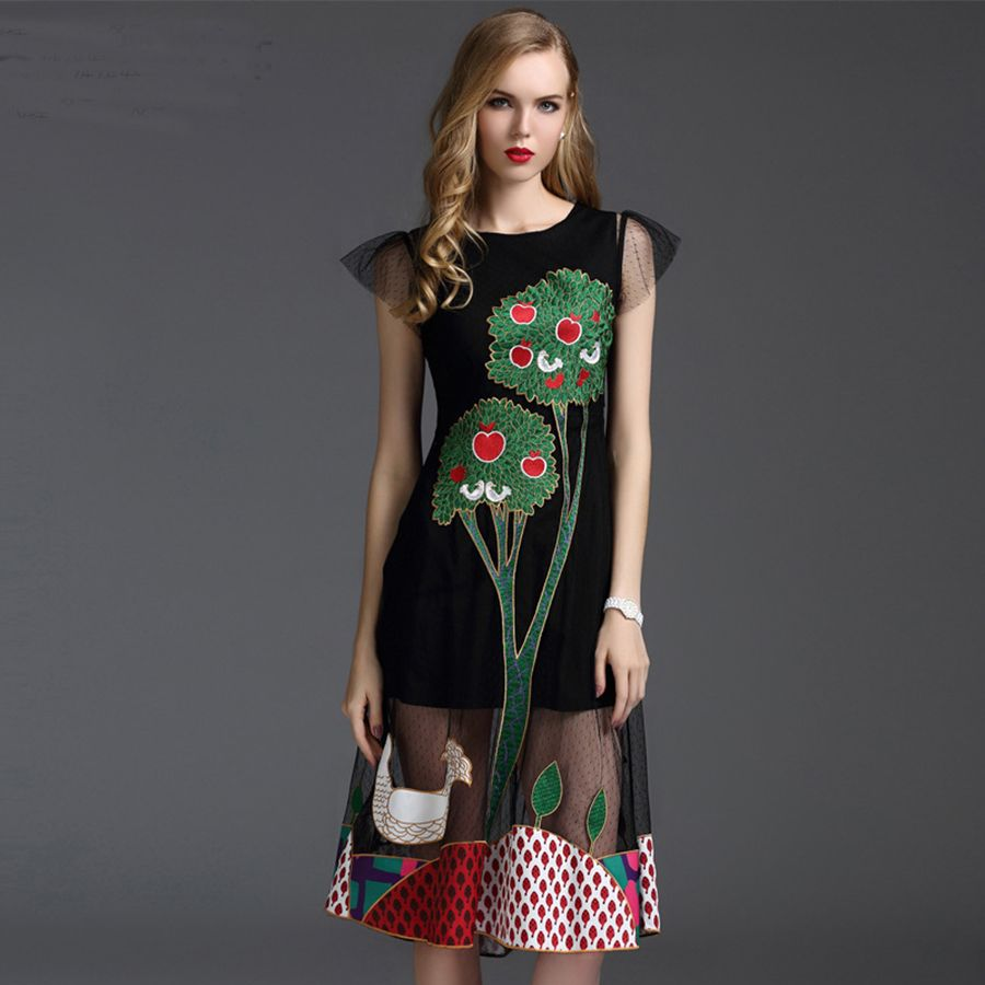 Novelty dress new summer fashion slim high street tree