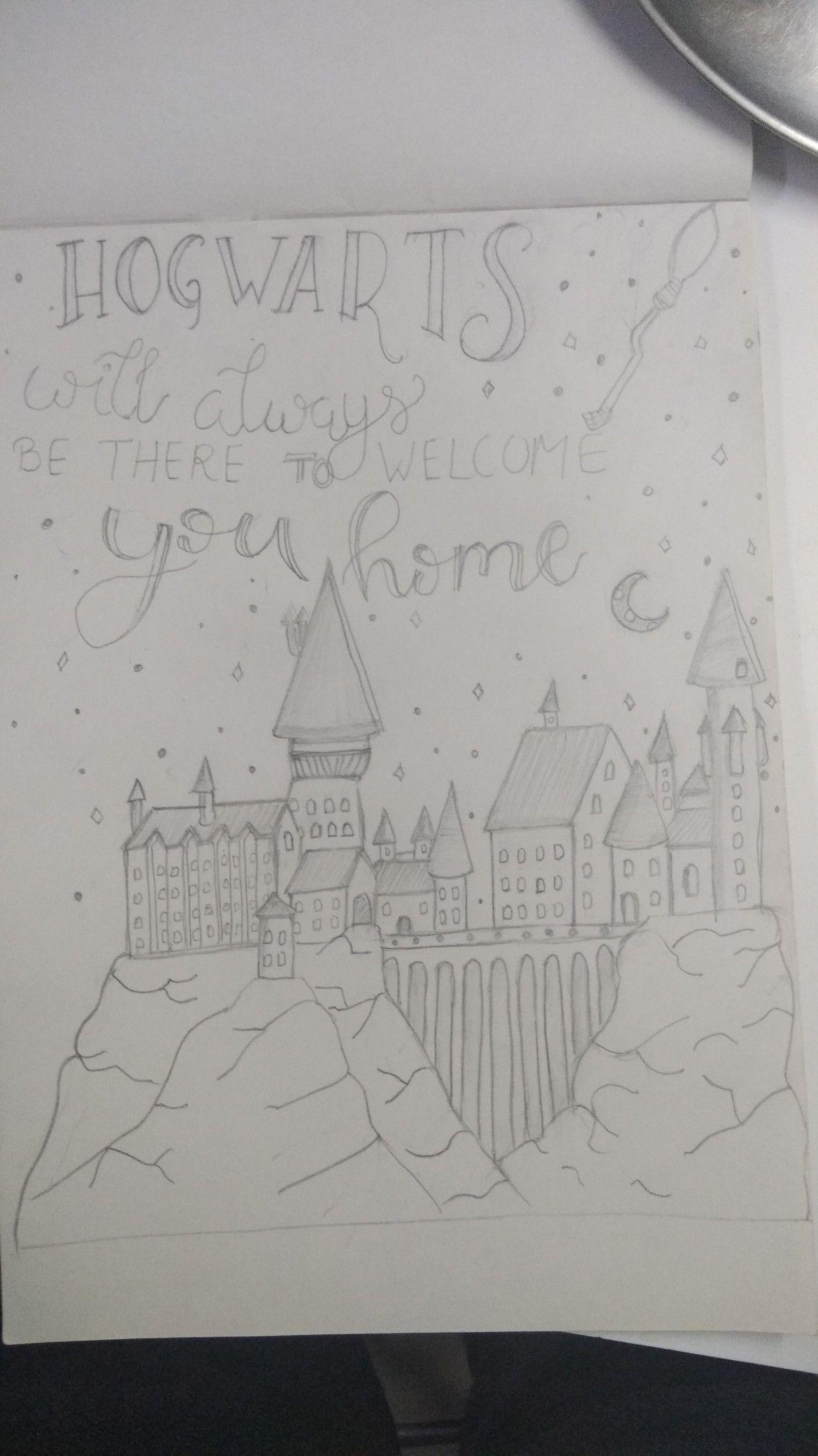 How To Draw Hogwarts Castle : hogwarts, castle, Hogwarts, Castle, Drawing,, Painting,, Sketch