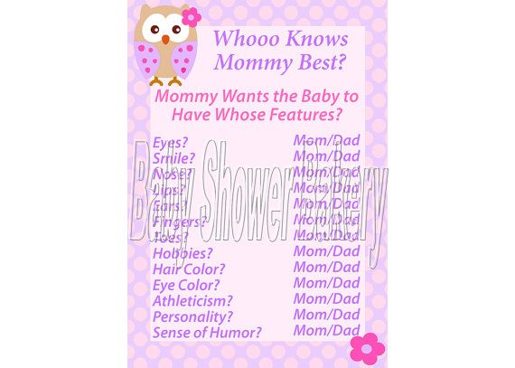 Pink Owl Baby Shower Game For Girl, Who Knows Mommy Best Game, Lavender Baby