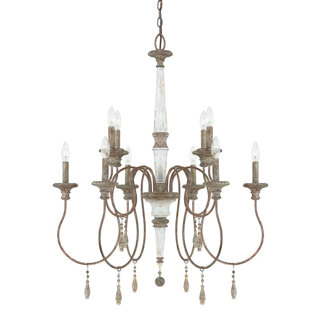 Austin Allen Company Zoe Collection 10 Light French Antique Chandelier Brown Gl
