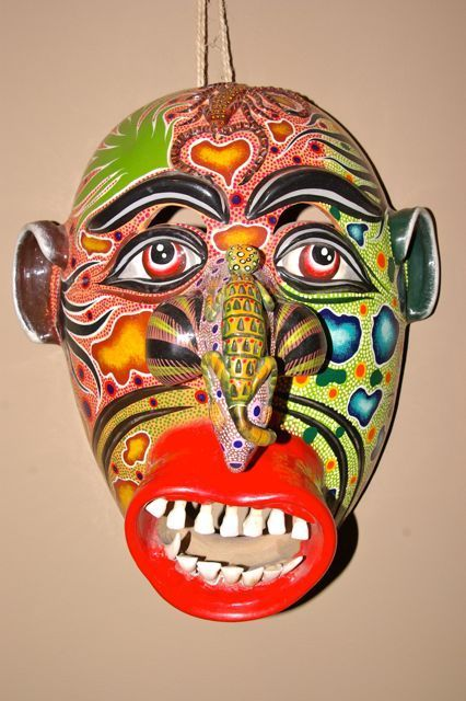 Incredible Mexican MASK from Tonala Jalisco special piece with unique work | eBay