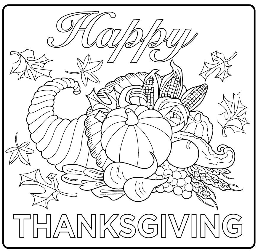 Happy Thanksgiving Poster Thanksgiving Coloring Sheets Fall