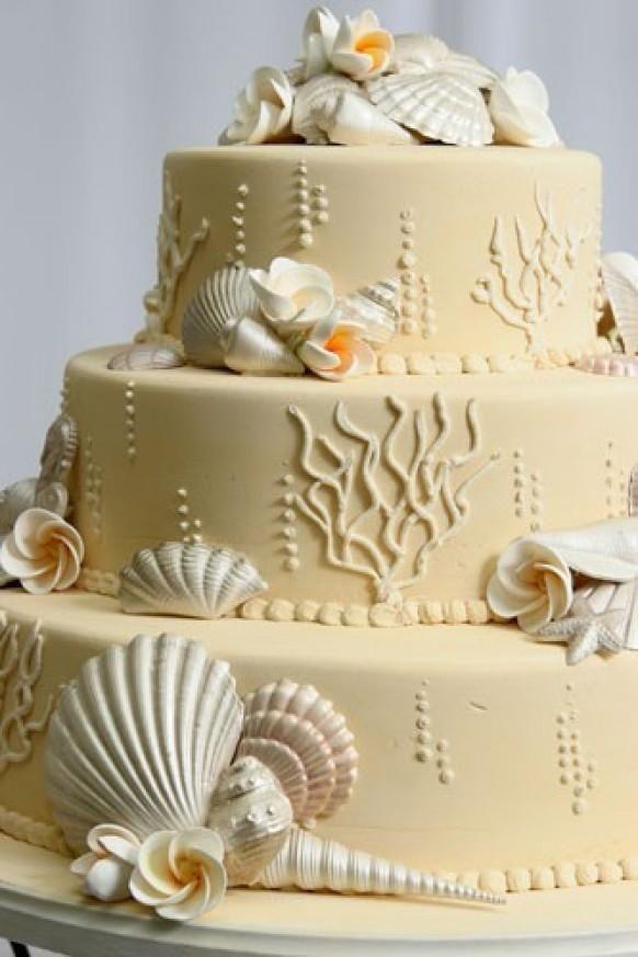 Beach Wedding Cake Ideas ♥ Wedding Cake with Edible Sugar Sea ...