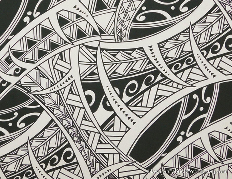 Polynesian Tattoo Fabric; Tapa Hawaiian cotton fabric ... - photo#27