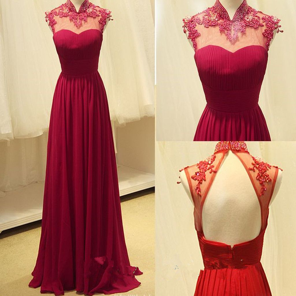 New high neck red vintage unique style formal long prom dress