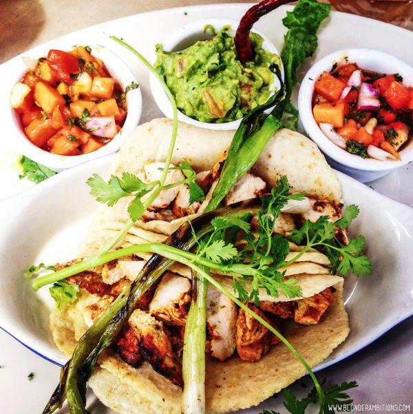 BLONDER AMBITIONS   INSTAGRAM RECAP – FOOD EDITION. carlitos – papaya salsa   guacamole   grilled scallions   chicken   handmade corn tortillas
