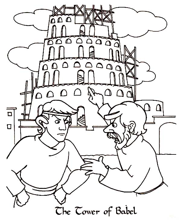 Two Man Argue In Front Of Tower Of Babel Coloring Page Kids Play Color Tower Of Babel Coloring Pages Inspirational Bible Coloring Pages