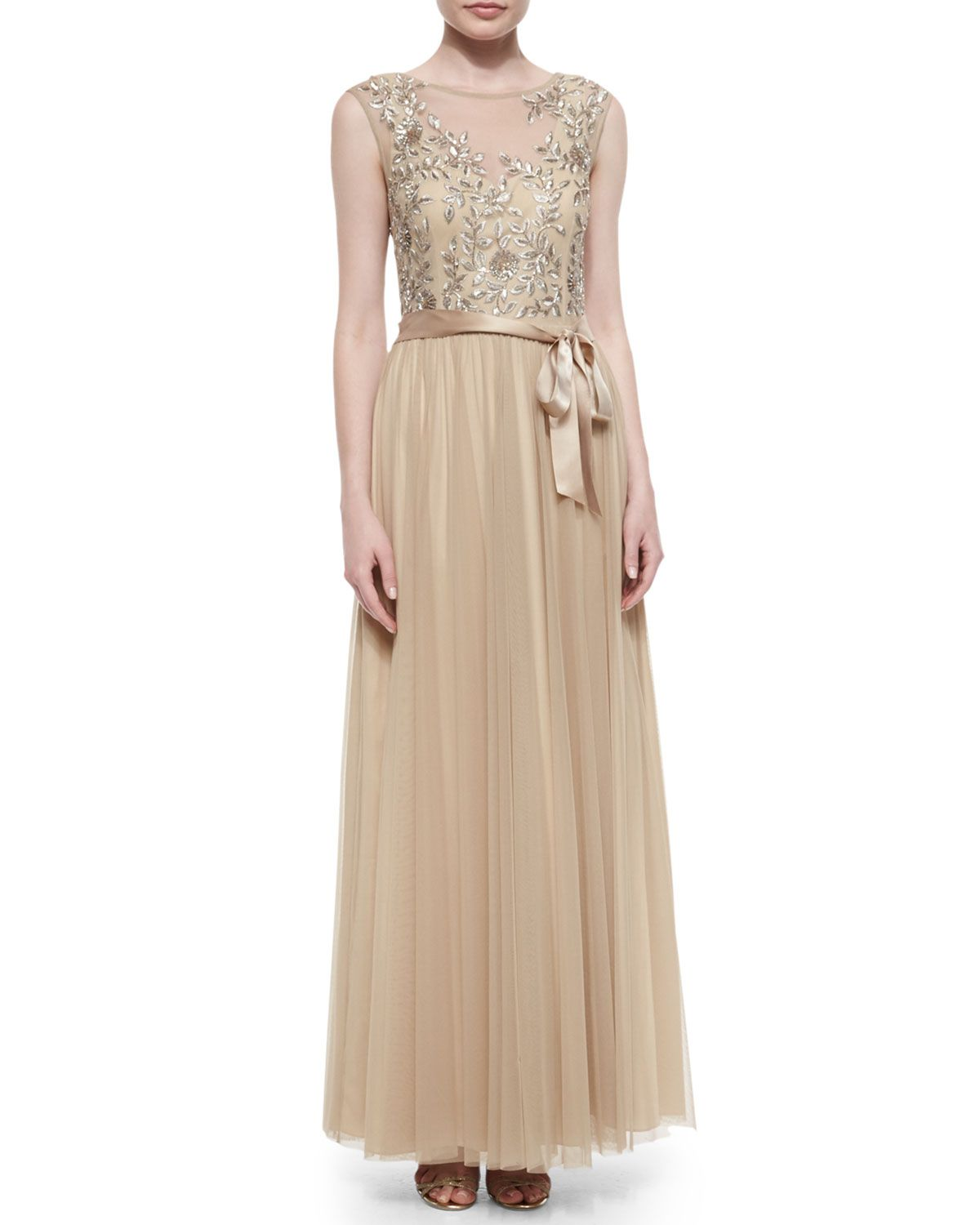 Aidan mattox embellished tulle capsleeve gown light gold dress