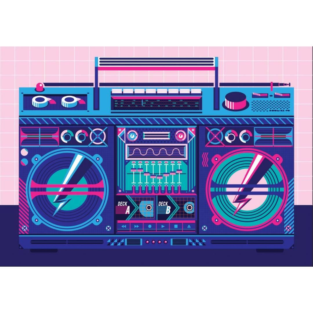 Heres My Illustration Of A Boombox I Really Like The Look Of Over The Top 80s 90s Audio Boombox Retro Music Pixel Art Background