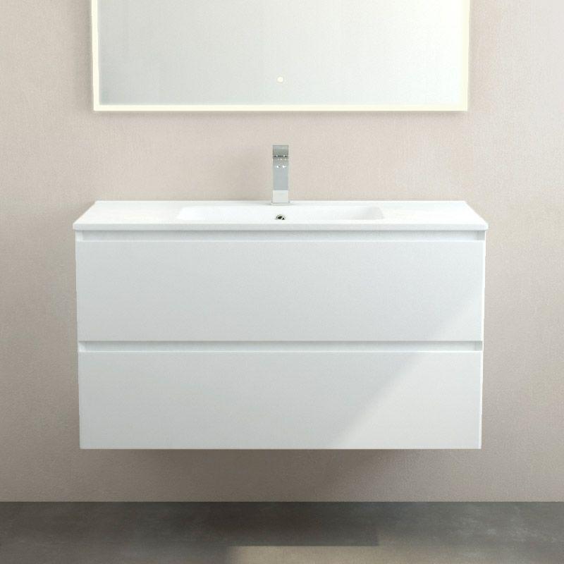 Meuble Plan Vasque Ceramique Mat 100 Cm Blanc Mat One Meuble De Salle De Bain Meuble Vasque Meuble Salle De Bain