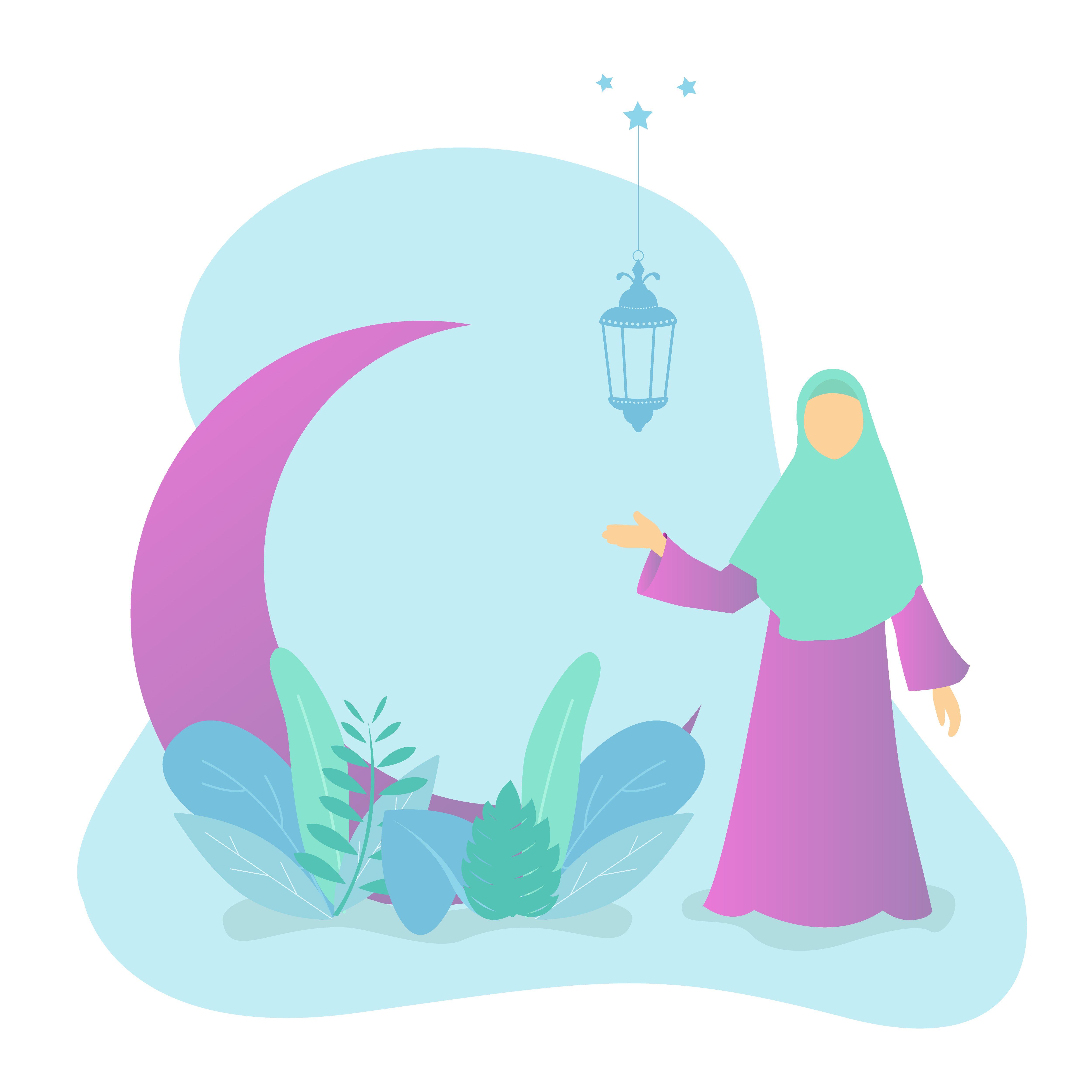 Vector of ramadan kareem with muslim woman, moon, lamps