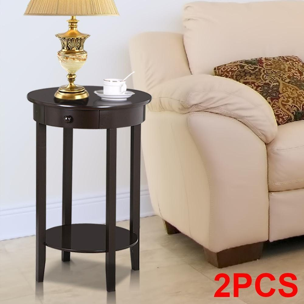 Yaheetech Round Sofa Side End Table with Drawer Wood Beside ...