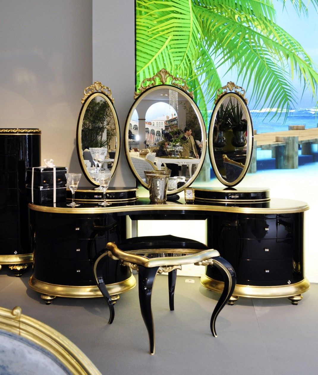 Gold Vanity Table Part - 17: Luxury Dressing Table | Luxury High Gloss Black And Gold Carved Swarovski Dressing  Table