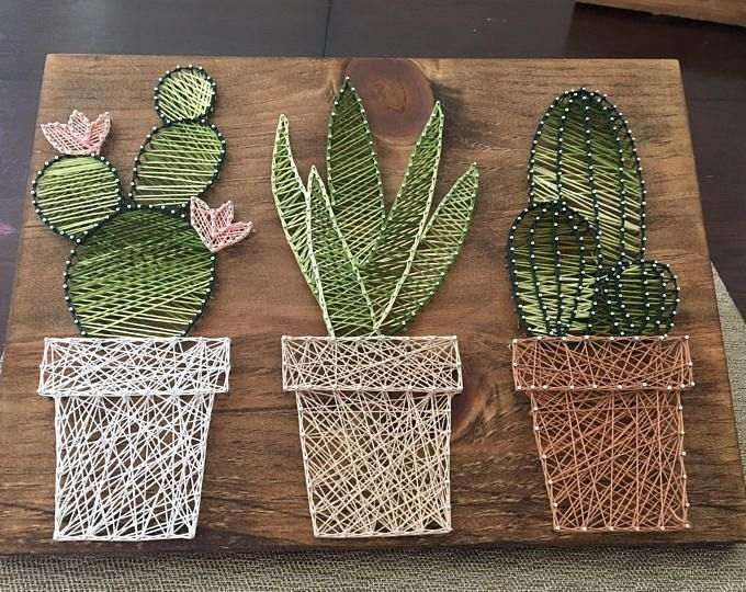 Cactus garden string art • suculent string srt • home decor • rustic wall art • rustic succulent cacti wall decor • ombre cactus