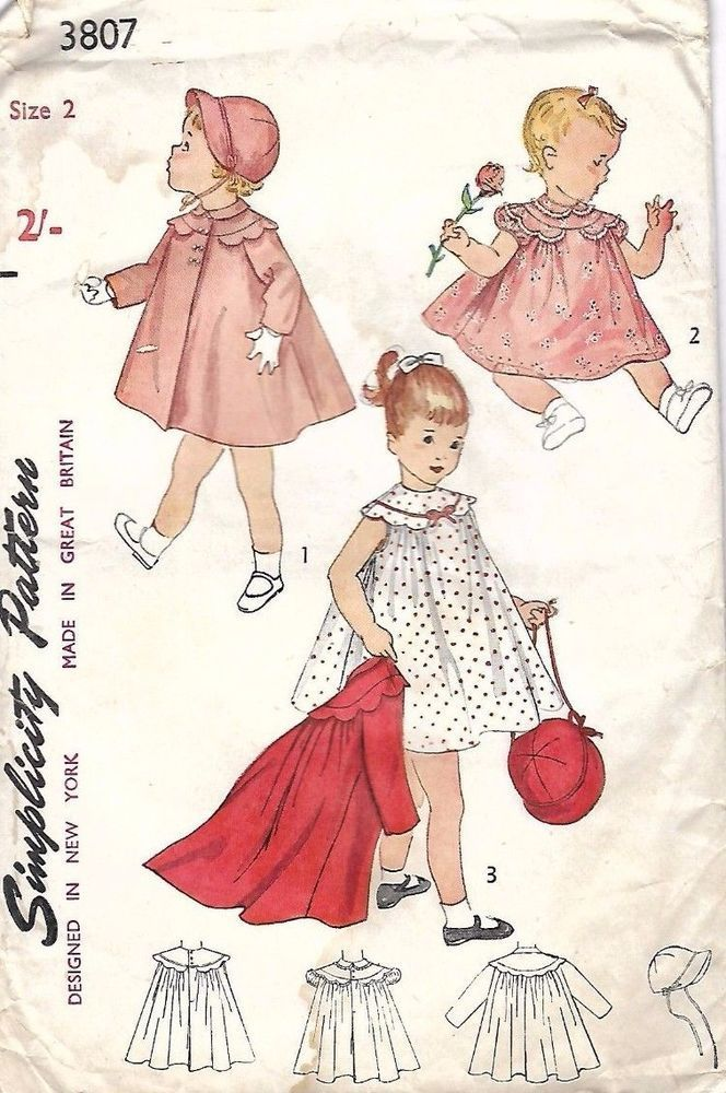 Vintage 1950\'s Sewing Pattern RARE Girl\'s Toddler\'s Dress & Coat Age ...
