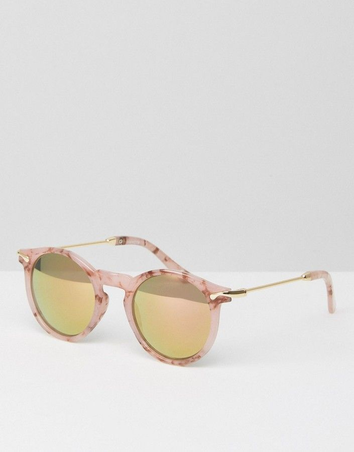 0677f3b525 Asos Round Sunglasses With Metal Arms In Pink Marble Transfer And Flash Lens