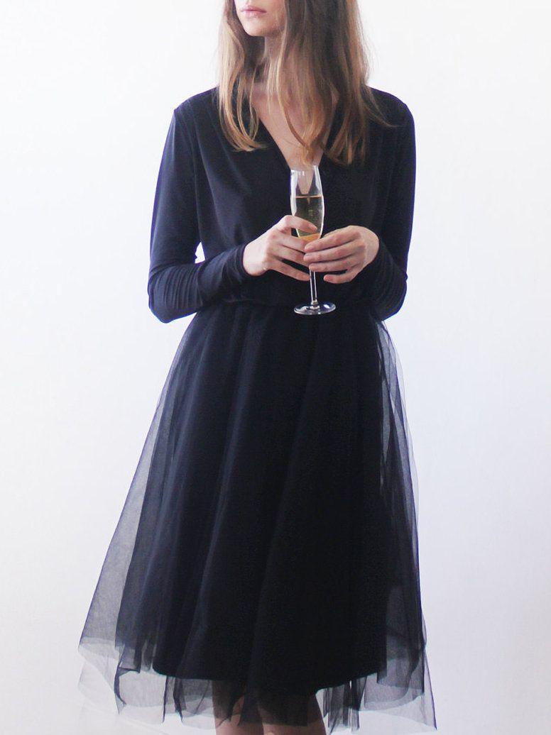 Adorewe Stylewe Midi Dresses Blushfashion Black Midi Length Tulle Gown With Long Sleeves Adorewe Com Midi Tulle Dress Tulle Dress White Bodycon Dress [ 1036 x 776 Pixel ]