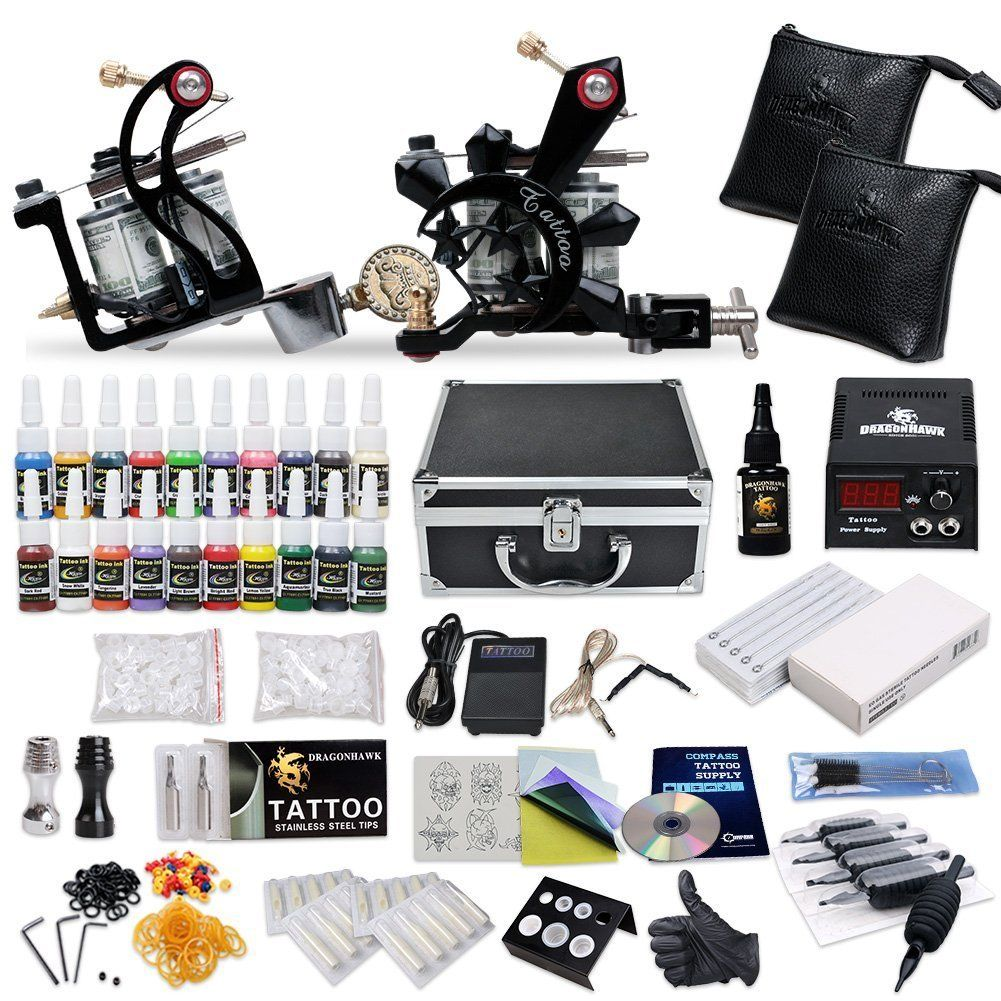 Goes here tattoo starter kit complete 2 guns supply set