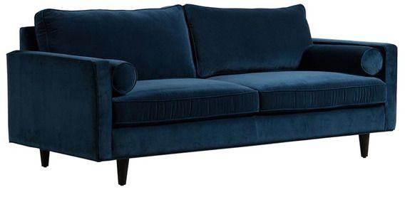 Buy Modern 2 Seater Sofa with Rich Velvet Upholstery Blue Online