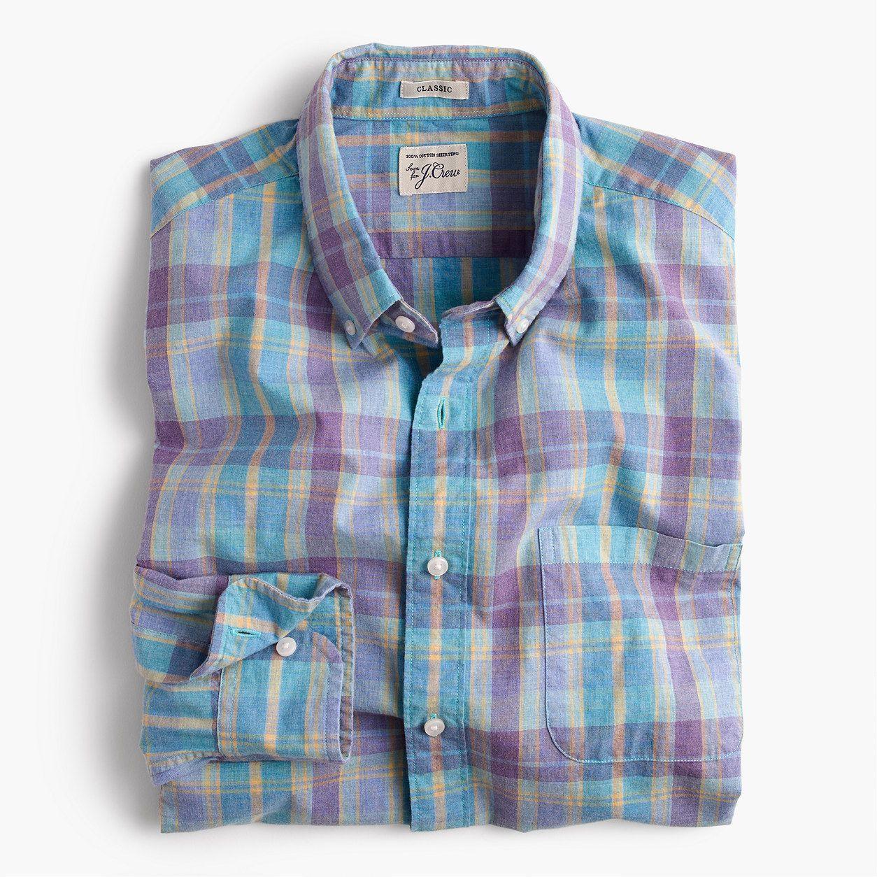 J.Crew Mens Tall Secret Wash Shirt In Heather Poplin Plaid (Size XL Tall)