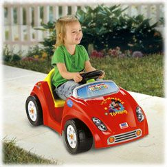 Battery-powered fun for the littlest drivers! Stage 1 parent-assist handle lets you control both power and steering. When your child is ready for Stage 2, independent driving fun, simply remove the handle. Tot-friendly design features activity dash